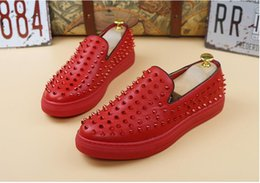 Wholesale white pointy heels - 2017 Promotion New spring brand new free shipping Fashion Mens Punk Studded Rivet Spike Suede Pointy Loafers Casual Dress Shoes
