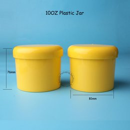 Wholesale Cosmetic Jar Packaging Glass - 2pcs Lot Promotion Empty Plastic Yellow 300g Cream Jar Refillable 10OZ Big Facial Mask Packaging 300cc Cosmetic Srew Cap Pot