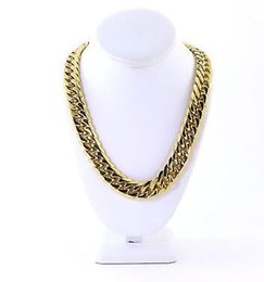 Wholesale 14k Thick Gold Chain - Mens Thick Large 14K Gold Plated Miami Cuban Stainless Steel Chain Hip Hop