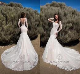 Wholesale Organza Wedding Mermaid - New Arrival 2018 Mermaid Wedding Dresses Sheer Long Sleeves Illusion Back Bridal Gowns Full Lace Vintage Wedding Gowns Custom Made