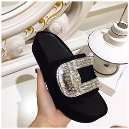 Wholesale Flat Back Square Crystals - 2017 Summer Suede Rhinestone Slipper Woman Crystal Diamond Square Buckle Muffin Gladiator Sandals Woman