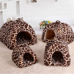 Wholesale Dog House Outdoors - 2016 New Pet Product Cat House Bed Foldable Soft Winter Leopard Dog Bed Strawberry Cave Dog House Kennel Nest Dog Fleece Cat Bed