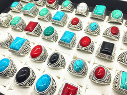 Wholesale Antique Vintage Wedding Bands - Men's women's mix styles antique silver vintage Turquoise stone rings Gift Party Wedding Ring 50pcs Lot Wholesale