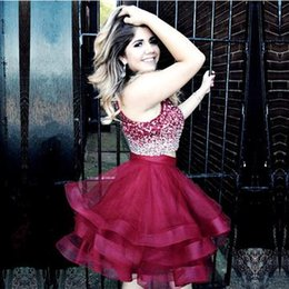Wholesale puffy photo - Sparkly Two Piece Red Homecoming Dresses Sequins Beaded Tulle Puffy Skirt Custom Made Short Prom Dresses Graduation Dresses Zipper Up