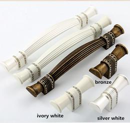 Wholesale Fashion Modern Accessories Wholesale - 128mm modern fashion rhinestone furniture handles ivory white bronze silver white wardrobe dresser door handle hardware accessories