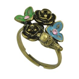 Wholesale Colorful Alloy Bird - Retro Style Antique Gold-Color with Rhinestone and Colorful Enamel Flower Bird Finger Rings For Women