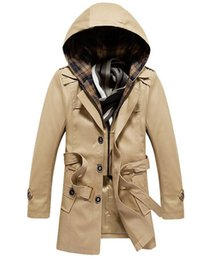 Wholesale Trench Coat Men 4xl - Wholesale- New fashion men spring long coat mens trench coats detachable hat outwear windbreaker 3 Colors M L XL XXL 3XL 4XL