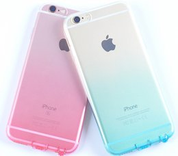 Wholesale Dust Plug Design - For iPhone 6 6s 7 Plus Case Covers Transparent Gradient Color Design TPU Silicon Protective Mobile Phone Covers Shell Dust plug