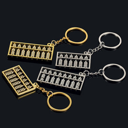 Wholesale ring files - 6 files 8 files abacus metal key ring Chinese wind gold silver abacus key ring chain pendant S158