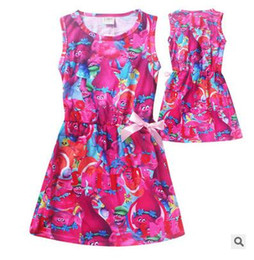 Wholesale Baby Costum - Sleeveless Beach Girls Dress Trolls Kid Print Girl Dress Girls Costum Trolls For Baby Clothing Kids Dress With Cute Bow Kids Clothing