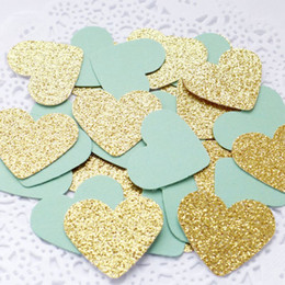 Wholesale Engagement Table - Mint Green&Gold Heart Table Confetti Bridal Shower Engagement- Wedding Decorations Baby Shower Birthday Party Events Supplies
