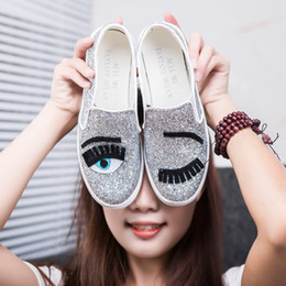 Wholesale Eyelash Rubber - 2017 Chiara Ferragni Flats Round Toe zapatos mujer Glitter Eyelash Flat Espadrilles Blink Eye Flat Shoes Womens Lazy Loafers