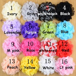 Wholesale Girls Chiffon Headband - free shipping 30pcs lot 16color Shabby Lace Mesh Chiffon Flower For Baby Girls Hair Accessories Artificial Fabric Flowers For Headbands H014