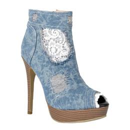 Wholesale Womens Plaid Boots - Kolnoo Womens Handmade Demin High Heel Platform Peep-toe Sexy Ankle Boots Fashion Summer Shoes Blue XD404