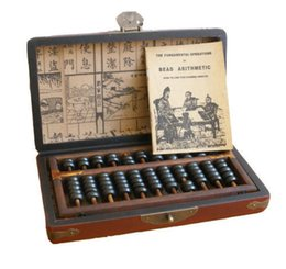 Wholesale Gloves Drawing - Exquisite Chinese folk collection Vintage Wooden Bead Abacus leather Box with Instruction book