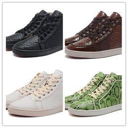 Wholesale Mens Casual Comfort Leather Shoes - Snakeskin Red Bottom Sneakers Luxury Designer High Top Skate Sneakers Mens Womens Casual Shoes Brand New Comfort Wholesale Price 36-46