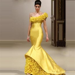 Wholesale Vestido Plus Size Renda Longo - Yellow Mermaid Evening Gowns 2018 One Shoulder Vestido Longo De Renda Fashion Women Formal Celebrity Gowns