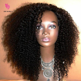 Wholesale Natural Afro Hairstyles - 8A Grade Peruvian Virgin Human Afro Kinky Wig Curly Hair 130 Density Human Hair Front Lace Kinky Afro Curly Wigs For Black Women