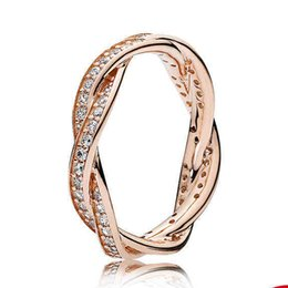 Wholesale Asian Love - Authentic 925 Sterling Silver Ring Rose Gold Pave Love Eternal Braided With Crystal Ring Compatible With Pandora Jewelry HRA0239
