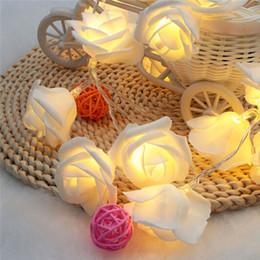 Wholesale Roses Light Bulbs - 2.2M 20LED Rose Flower Led Christmas Lights NewYear Wedding Romantic Christmas Decoration String Fairy Light BatteryOperated