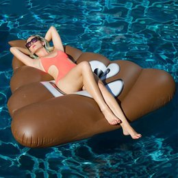 Wholesale Inflatable Beach Mat - 150X165cm Giant Inflatable Floats Poo Emoji Float Beach Sunbathe Mat Swimming Water Party Bed Sea Beach Pool Toys