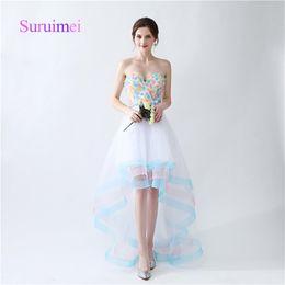 Wholesale Jacket Custom Design - Gorgeous Sweetheart Prom Dresses with Flowers Vestidos de Noiva Floor Length Evening Gowns Zipper Design Fast Shipping