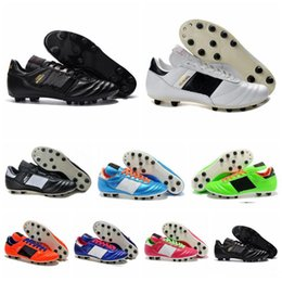 Wholesale Soccer Shoe Sizing - Mens Copa Mundial Leather FG Soccer Shoes Discount Soccer Cleats 2015 World Cup Football Boots Size 39-46 Black White Orange botines futbol