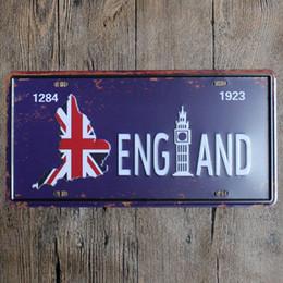 2019 royaume-uni voitures Angleterre Royaume-Uni vintage en métal gaufré signes garage voiture plaque d'immatriculation numéro de plaque de plaque de peinture peinture image 15x30cm promotion royaume-uni voitures