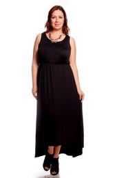 Wholesale Dress Autunm - Sleeveless Irregular Dress Fashion Big Size Black Casual Work Solid Women Dress Autunm Summer