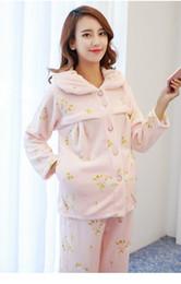 Wholesale Soft Coral Fleece Sleepwear - Women's Long Sleeve Coral Fleece Soft Comfortable Nursing Loungewear Fashion Maternity Sleepwear Pajama Size:L XL DXYZT02