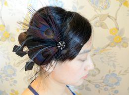Fascinator de la pluma nupcial marrón natural con el cristal negro Feature Wedding Headpiece nupcial del pelo de la pluma Accesorio IRISF004 desde fabricantes