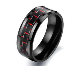 Wholesale Cylindrical Ring - B026 Hot style Blue Black Carbon Fiber Men's Ring 8MM Black Carbon Fiber Cylindrical Stainless Steel Rings