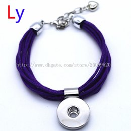 Wholesale Crystal Bead Adjustable Rings Jewelry - Handmade Deep purple cotton rope snap Bracelets Fit Snap Buttons 18mm with adjustable knot Noosa chunk jewelry For Men woman NR0158
