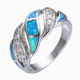 Wholesale 14kt Gold Wholesale - Wholesale- Blue Fashion Jewelry Crystal Fire Opal Ring 14KT White Gold filled 925 Sterling Silver Jewelry Wedding Rings For Women RP0011