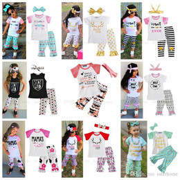 Wholesale Kids Bow Arrows - INS Clothing Sets Baby Shirts Headband Pants Kids Printed Bow Tops Hairband Pants Arrow Letter Leather Outfits Summer Fashion Suits H295