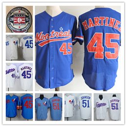 Wholesale Vintage Patches - Mens Randy Johnson Montreal Expos 1994 Throwback Vintage Jersey White blue 45 PEDRO MARTINEZ Expos 2015 HOT patch baseball Jersey S-3XL