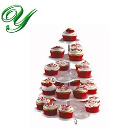 Wholesale Display Tier Wholesale - Cupcake Holder Stand tower lollipop Display plastic white carrier 3 4 5 tiers plates wedding Party Decorations Kids Birthday Event Supplies