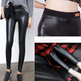 Wholesale Thin Head - The spring and autumn wear leather pants slim women's PU leather leggings thin waist trousers cat head collage Leggings leather pants