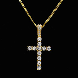pendentifs en cristal Promotion Nouveau style Charm Classic Cross Necklace Pendentif Full Iced Out Crystal Rhinestones Crux Men's Jewelry Drop Shipping