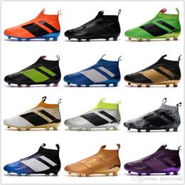 Wholesale Cheap Soft Fabric - 2017 Discount Cheap Wholesale ACE 16+ PureControl FG Soccer Shoes Men Soccer Cleats Hot Sale No LACES Sports Boots Size 6.5-11