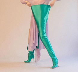 Wholesale Color Navy Blue Heels Shoes - NEW Woman Extreme Long Waist High Boots Fluorescence Color Stretch Satin Thin High Heels Pointed toe Stage Long Botas Shoes