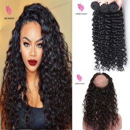 Wholesale Curly Pcs Closure - Fantasy Beauty 360 Lace Frontal With Bundle Indian Curly Weave Human Hair Deep Wave 4 Pcs 360 Lace Frontal Closure With Bundles