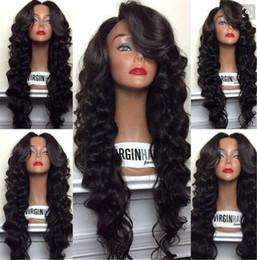 Wholesale Medium Brown Cheap Wigs - Top 8A Grade Best 130% density Virgin BrazilianThick Human Hair Wig Full Lace Wig Cheap Human Hair Lace Front Wig Glueless