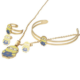 Wholesale Bracelet Minion - Hot Sale Cartoon Movie Minions Necklace Earrings Bracelet Ring Set for Kids,stainless steel fashion Jewelry Set,Christmas gift