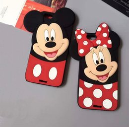 Wholesale Cute Cartoon Lovers - Cute Cartoon 3D Mickey Minnie Lover Case Mouse Soft Silicone Back Cover Shell for iPhone 7 5 5S 6 6s 6plus 7 Plus
