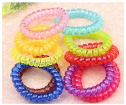 Wholesale Telephone Line Ponytail - Yokii Fashion Candy colourful Telephone Line Elastic Hair Tie Elastic Hair Band Ponytail Holders Hair Accessories Bracelet