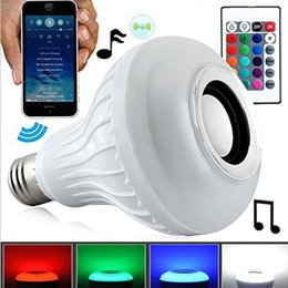 Wholesale Wireless Speakers Blue Tooth - Smart Bulb Speaker Light Wireless Bluetooth Speakers Lights Colorful RGB LED Light Portable Blue Tooth Speakers Music Lamp DHL