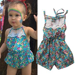 Wholesale Spandex Shorts For Kids - Newborn baby little girl boutique clothes for kids lace floral angle romper infant onesies aprons toddlers bodysuit dress children clothing