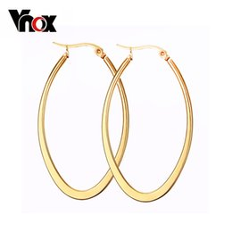 Wholesale Big Red Hoop Earrings - Wholesale- Vnox Fashion Big Hoop Earrings Women Female Bijoux 316L Stainless Steel Ear Jewelry Christmas Gift Not Allergic