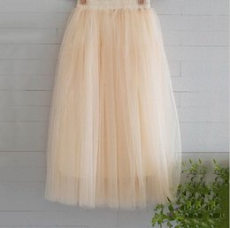 Wholesale Long Chiffon Ball Gown - New Arrivals Tulle Skirts Womens 2017 Summer Fashion High Waist Long Slim Skirt Elastic Waist Sun Fluffy Tutu Skirt